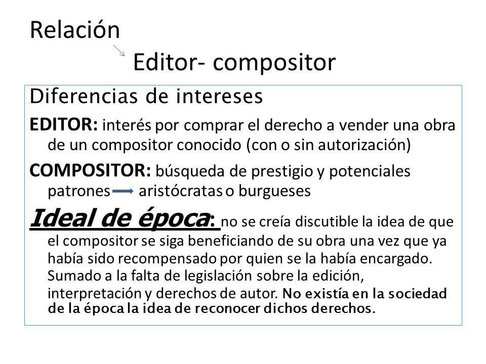 Relación Editor- compositor Diferencias de intereses EDITOR: interés por comprar el derecho a vender una obra de un compositor conocido (con o sin aut