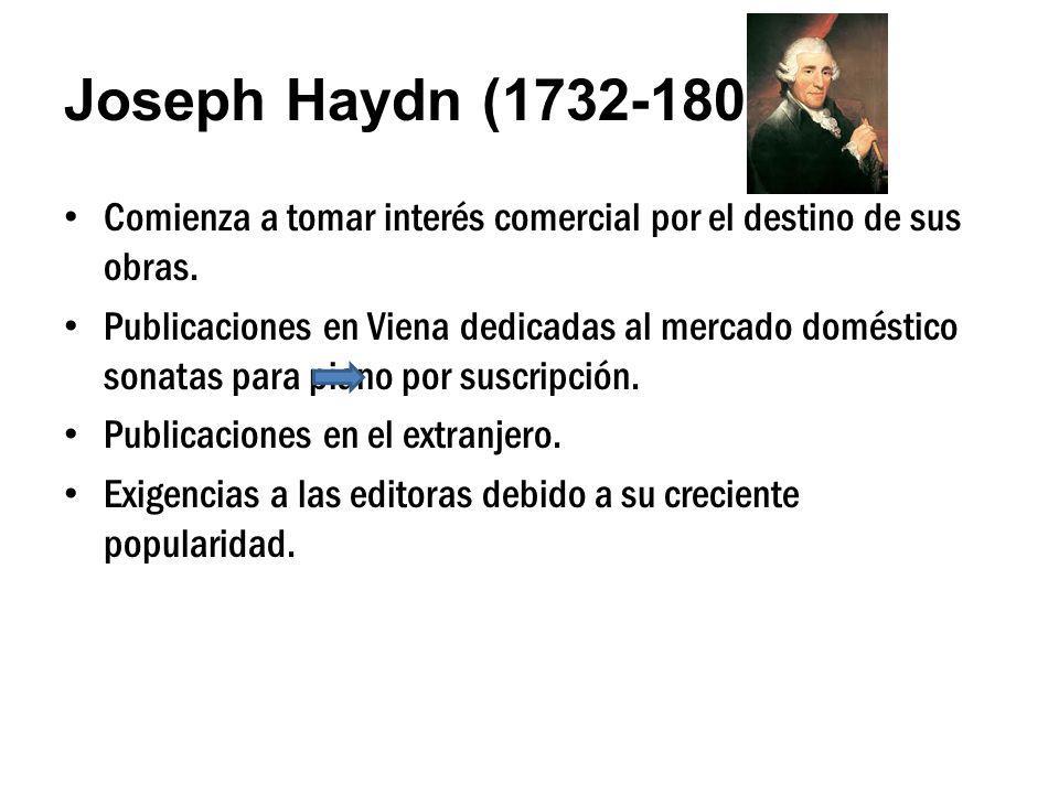 Joseph Haydn (1732-1809) Comienza a tomar interés comercial por el destino de sus obras. Publicaciones en Viena dedicadas al mercado doméstico sonatas