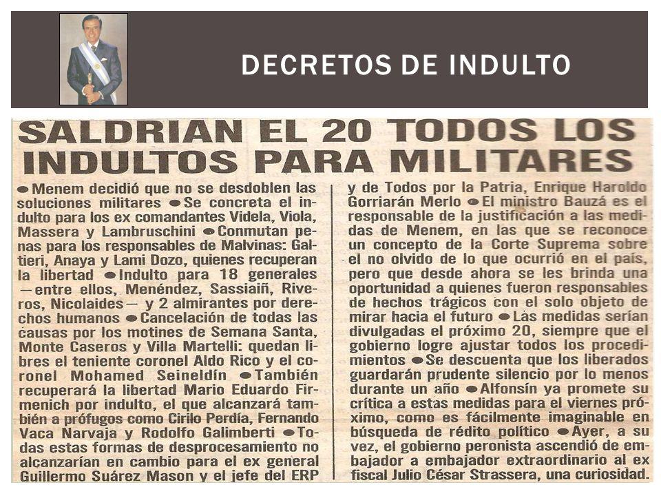 A mediados de los 90, se sumaron declaraciones sobre los denominados vuelos de la muerte; además, de una presentación de Emilio Mignone (fundador del Centro de Estudios Legales y Sociales, una ONG orientada a la promoción y defensa de los Derechos Humanos) en la cual documentó y denunció los abusos cometidos por los militares argentinos durante la dictadura de 1976.