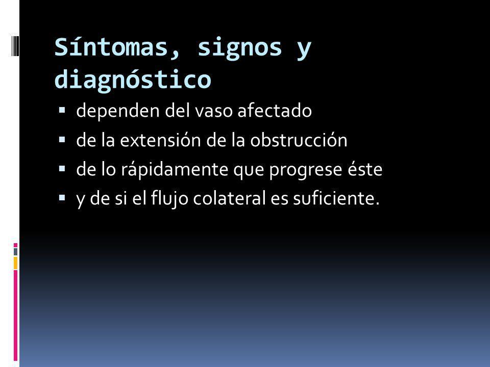 Síntomas, signos y diagnóstico dependen del vaso afectado de la extensión de la obstrucción de lo rápidamente que progrese éste y de si el flujo colateral es suficiente.