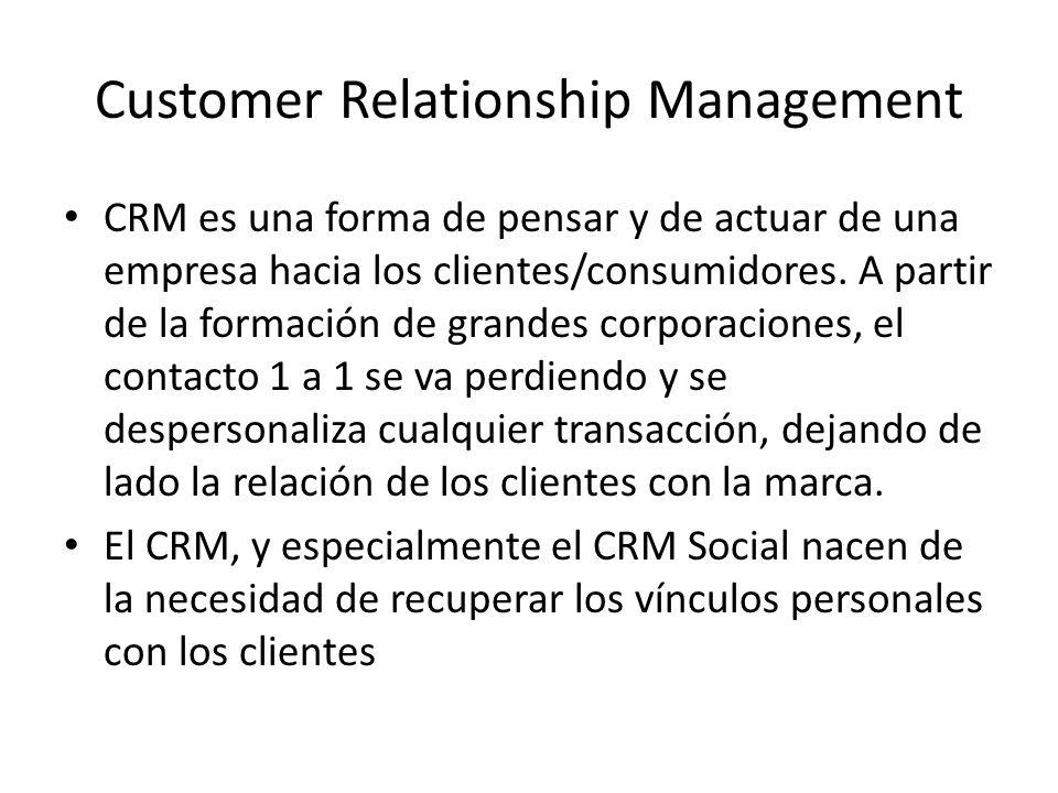 CRM es una forma de pensar y de actuar de una empresa hacia los clientes/consumidores.