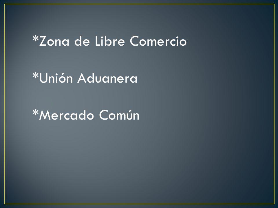*Zona de Libre Comercio *Unión Aduanera *Mercado Común