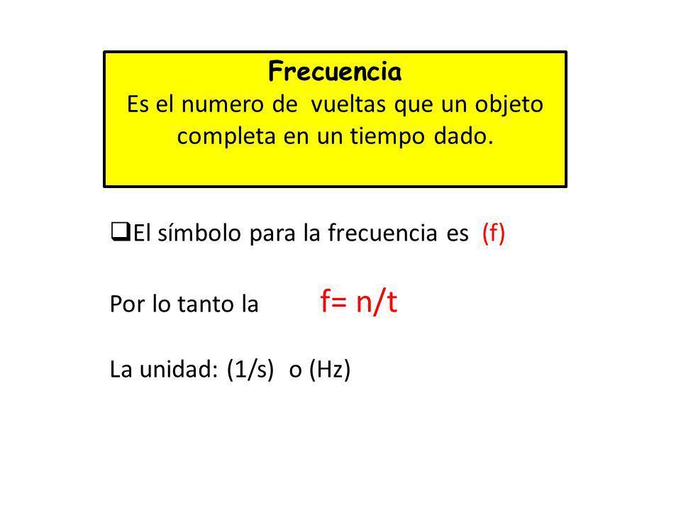 Frecuencia Es el numero de vueltas que un objeto completa en un tiempo dado. El símbolo para la frecuencia es (f) Por lo tanto la f= n/t La unidad: (1