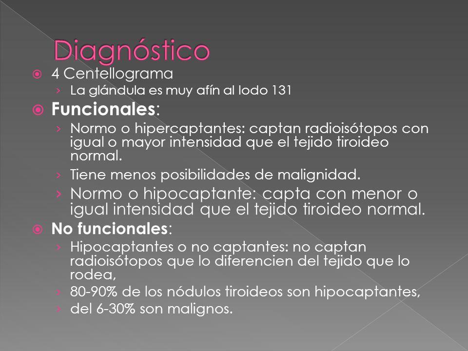4 Centellograma La glándula es muy afín al Iodo 131 Funcionales : Normo o hipercaptantes: captan radioisótopos con igual o mayor intensidad que el tej