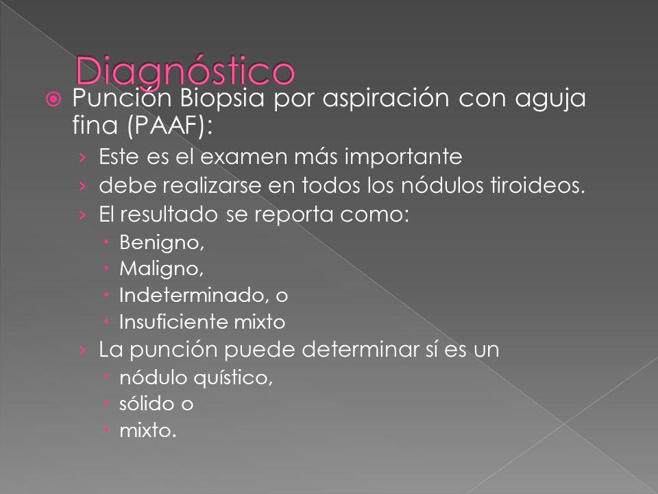 Punción Biopsia por aspiración con aguja fina (PAAF): Este es el examen más importante debe realizarse en todos los nódulos tiroideos. El resultado se
