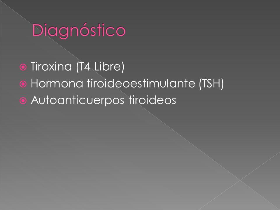 Tiroxina (T4 Libre) Hormona tiroideoestimulante (TSH) Autoanticuerpos tiroideos