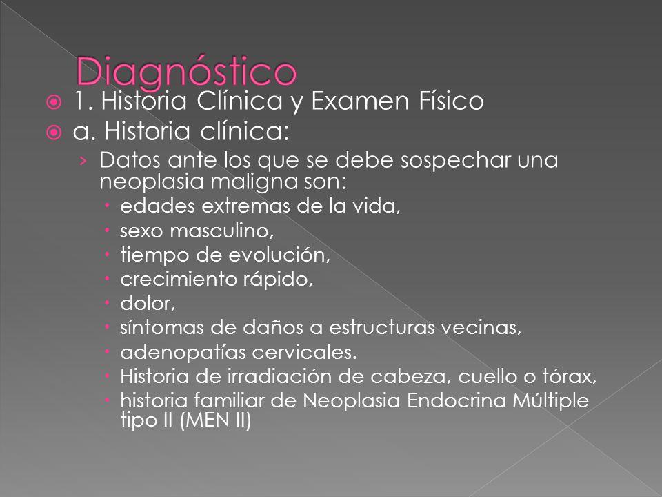 1. Historia Clínica y Examen Físico a. Historia clínica: Datos ante los que se debe sospechar una neoplasia maligna son: edades extremas de la vida, s