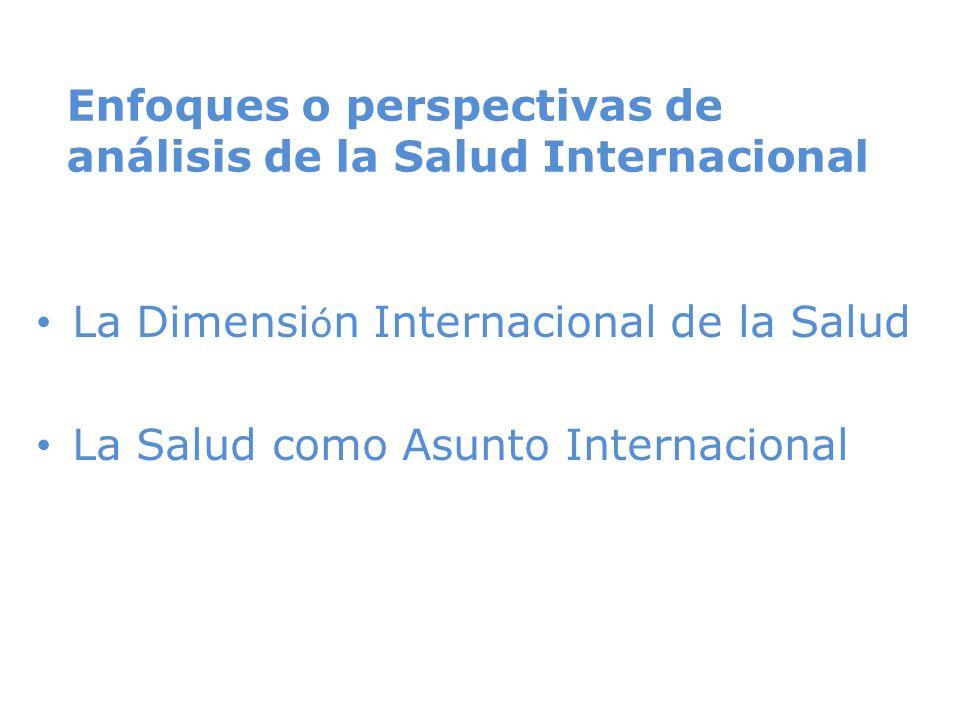 Enfoques o perspectivas de análisis de la Salud Internacional La Dimensi ó n Internacional de la Salud La Salud como Asunto Internacional