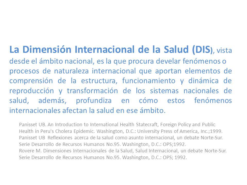 La Dimensión Internacional de la Salud (DIS ), vista desde el ámbito nacional, es la que procura develar fenómenos o procesos de naturaleza internacio