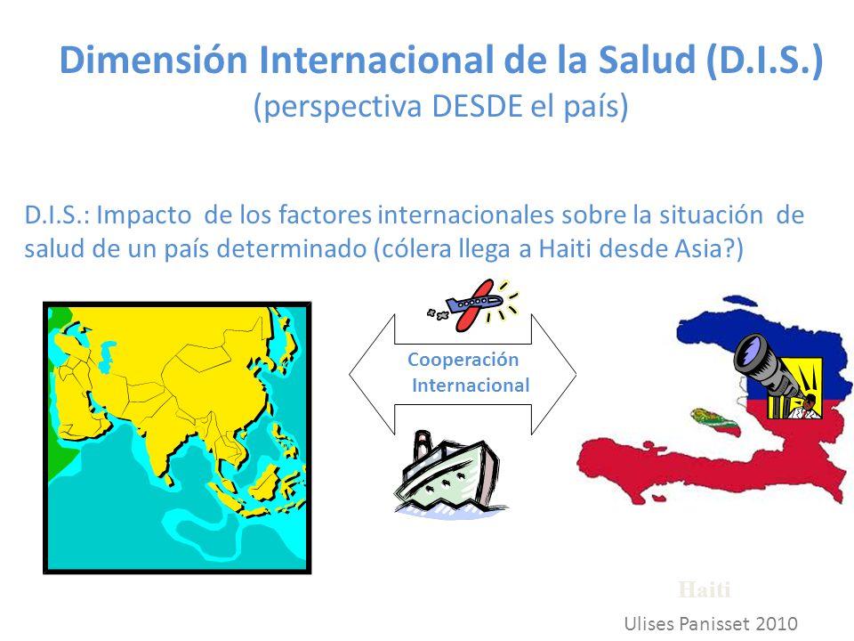 Dimensión Internacional de la Salud (D.I.S.) (perspectiva DESDE el país) D.I.S.: Impacto de los factores internacionales sobre la situación de salud de un país determinado (cólera llega a Haiti desde Asia?) Haiti Cooperación Internacional Ulises Panisset 2010