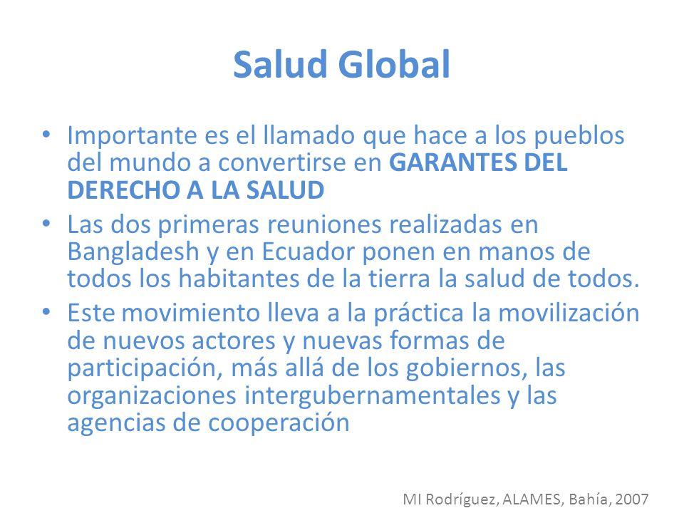 Salud Global Importante es el llamado que hace a los pueblos del mundo a convertirse en GARANTES DEL DERECHO A LA SALUD Las dos primeras reuniones rea