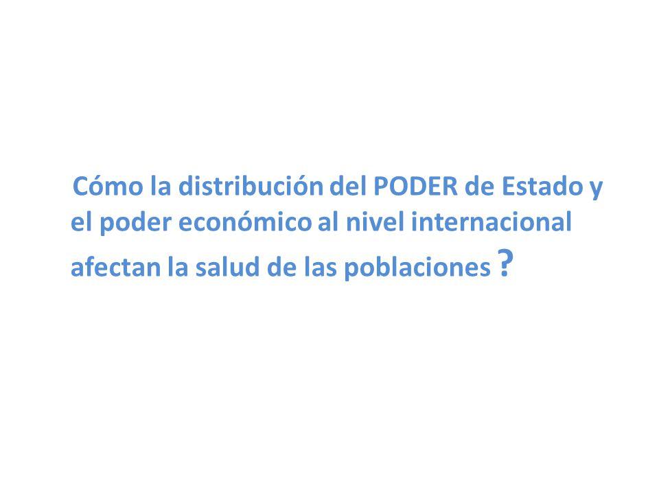Cómo la distribución del PODER de Estado y el poder económico al nivel internacional afectan la salud de las poblaciones ?