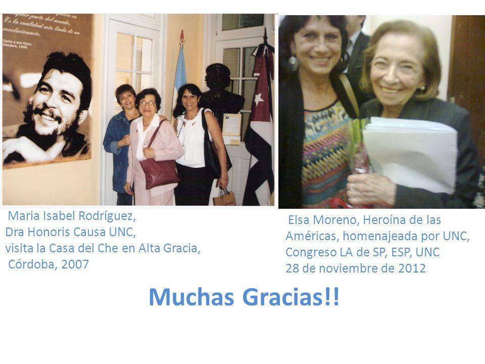 Muchas Gracias!! Maria Isabel Rodríguez, Dra Honoris Causa UNC, visita la Casa del Che en Alta Gracia, Córdoba, 2007 Elsa Moreno, Heroína de las Améri