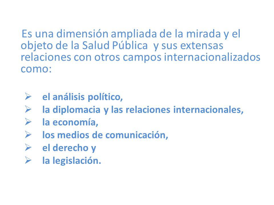 Es una dimensión ampliada de la mirada y el objeto de la Salud Pública y sus extensas relaciones con otros campos internacionalizados como: el análisis político, la diplomacia y las relaciones internacionales, la economía, los medios de comunicación, el derecho y la legislación.