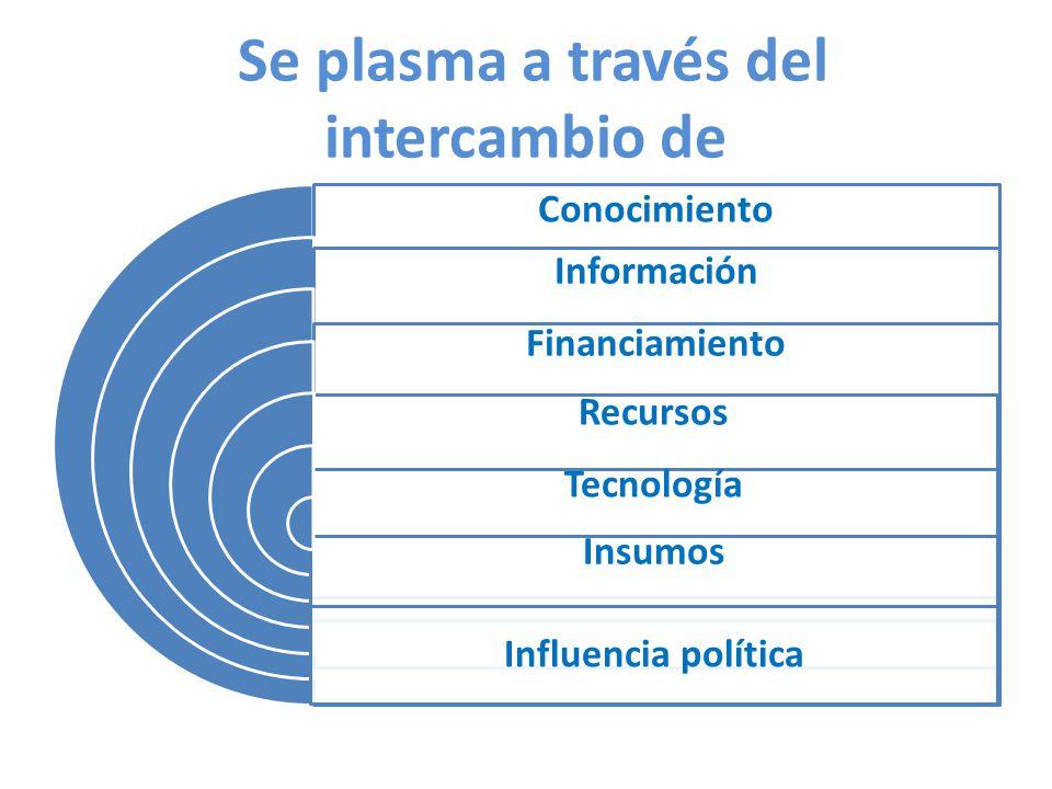 Se plasma a través del intercambio de Conocimiento Información Financiamiento Recursos Tecnología Insumos Influencia política