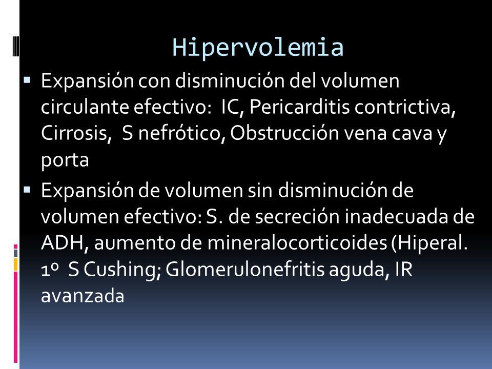 Hipervolemia Expansión con disminución del volumen circulante efectivo: IC, Pericarditis contrictiva, Cirrosis, S nefrótico, Obstrucción vena cava y porta Expansión de volumen sin disminución de volumen efectivo: S.
