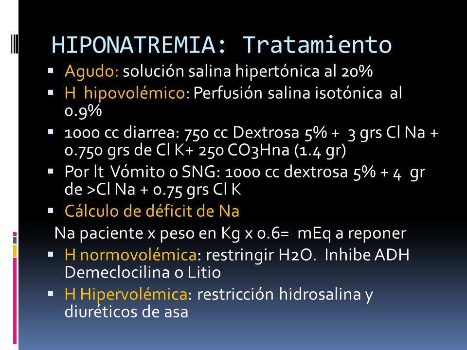 HIPONATREMIA: Tratamiento Agudo: solución salina hipertónica al 20% H hipovolémico: Perfusión salina isotónica al 0.9% 1000 cc diarrea: 750 cc Dextrosa 5% + 3 grs Cl Na + 0.750 grs de Cl K+ 250 CO3Hna (1.4 gr) Por lt Vómito o SNG: 1000 cc dextrosa 5% + 4 gr de >Cl Na + 0.75 grs Cl K Cálculo de déficit de Na Na paciente x peso en Kg x 0.6= mEq a reponer H normovolémica: restringir H2O.
