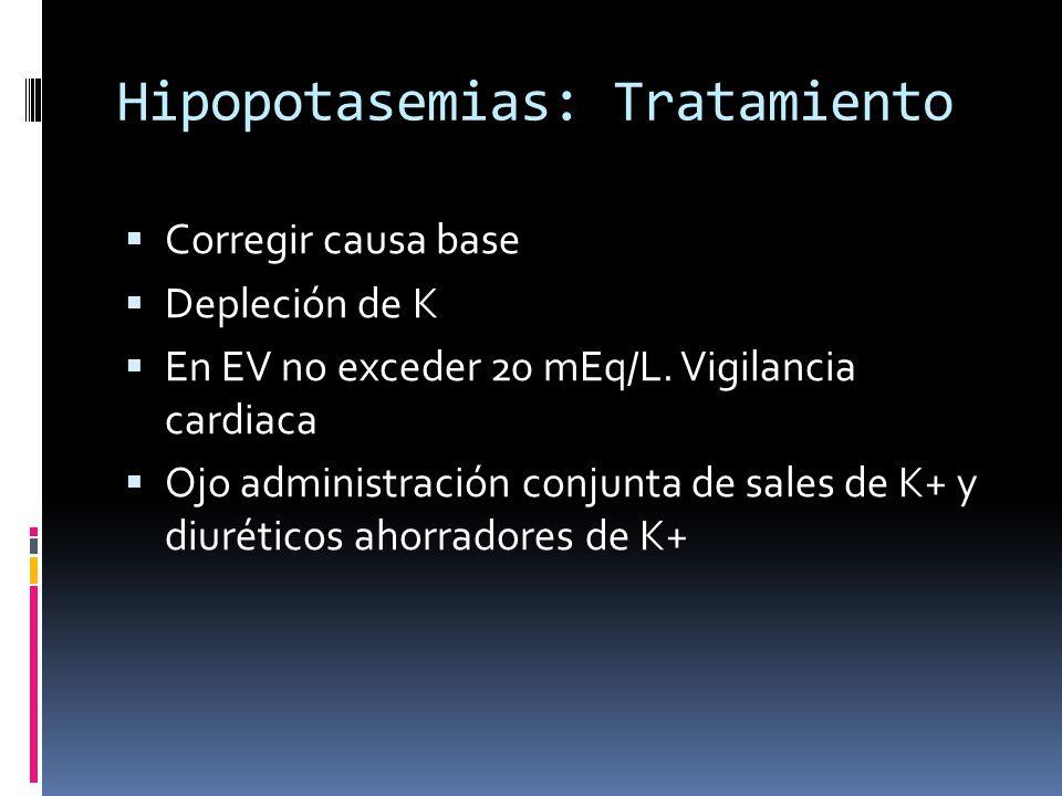 Hipopotasemias: Tratamiento Corregir causa base Depleción de K En EV no exceder 20 mEq/L.