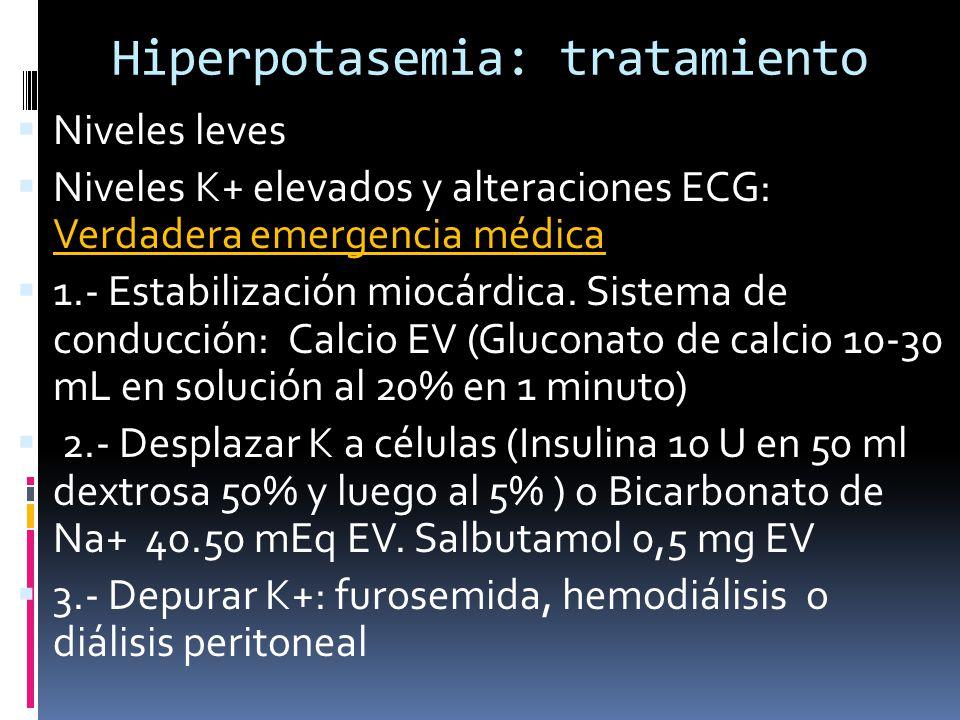 Hiperpotasemia: tratamiento Niveles leves Niveles K+ elevados y alteraciones ECG: Verdadera emergencia médica 1.- Estabilización miocárdica.