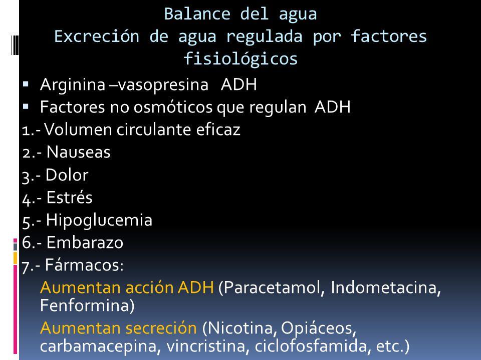 Balance del agua Excreción de agua regulada por factores fisiológicos Arginina –vasopresina ADH Factores no osmóticos que regulan ADH 1.- Volumen circulante eficaz 2.- Nauseas 3.- Dolor 4.- Estrés 5.- Hipoglucemia 6.- Embarazo 7.- Fármacos: Aumentan acción ADH (Paracetamol, Indometacina, Fenformina) Aumentan secreción (Nicotina, Opiáceos, carbamacepina, vincristina, ciclofosfamida, etc.)