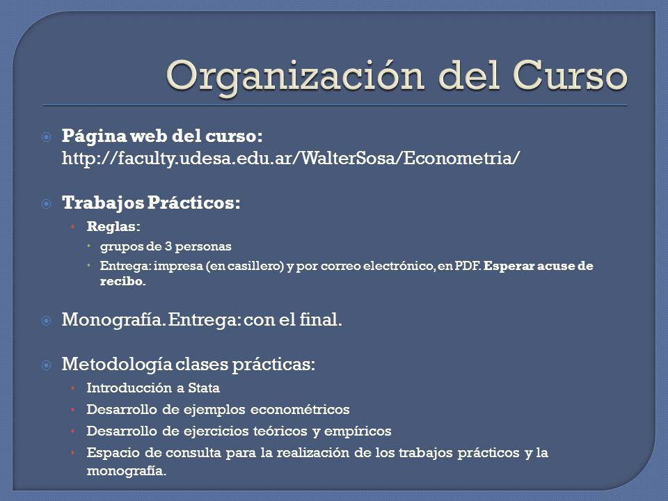 Página web del curso: http://faculty.udesa.edu.ar/WalterSosa/Econometria/ Trabajos Prácticos: Reglas: grupos de 3 personas Entrega: impresa (en casillero) y por correo electrónico, en PDF.