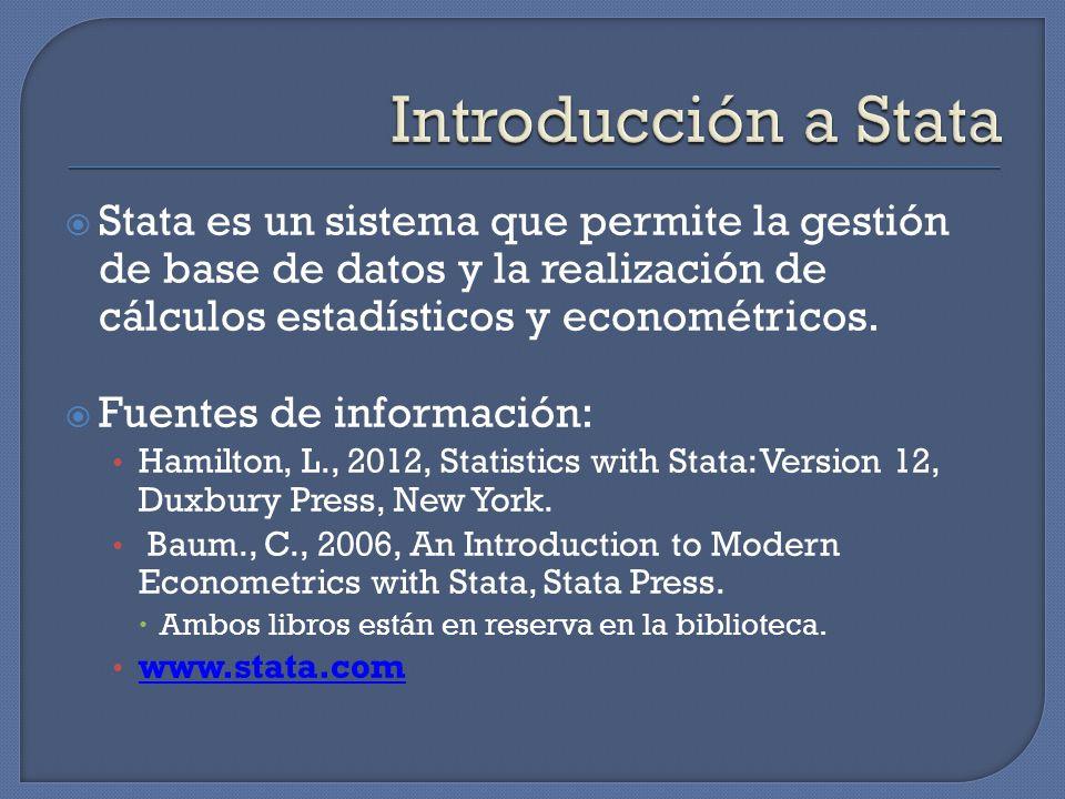 Stata es un sistema que permite la gestión de base de datos y la realización de cálculos estadísticos y econométricos.
