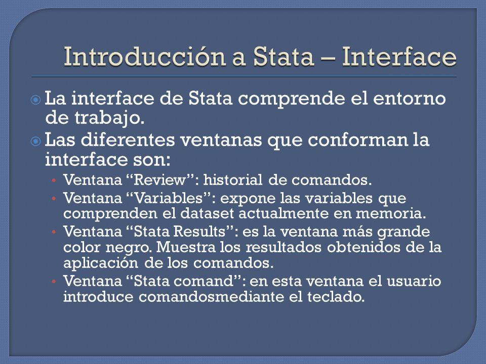 La interface de Stata comprende el entorno de trabajo.