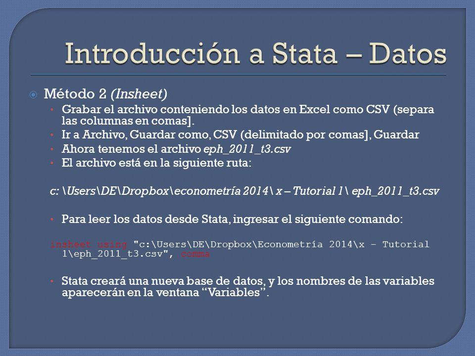 Stata provee una serie de herramientas gráficas muy útiles a través del comando graph.