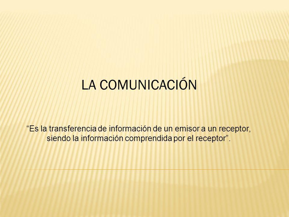 LA COMUNICACIÓN Es la transferencia de información de un emisor a un receptor, siendo la información comprendida por el receptor.