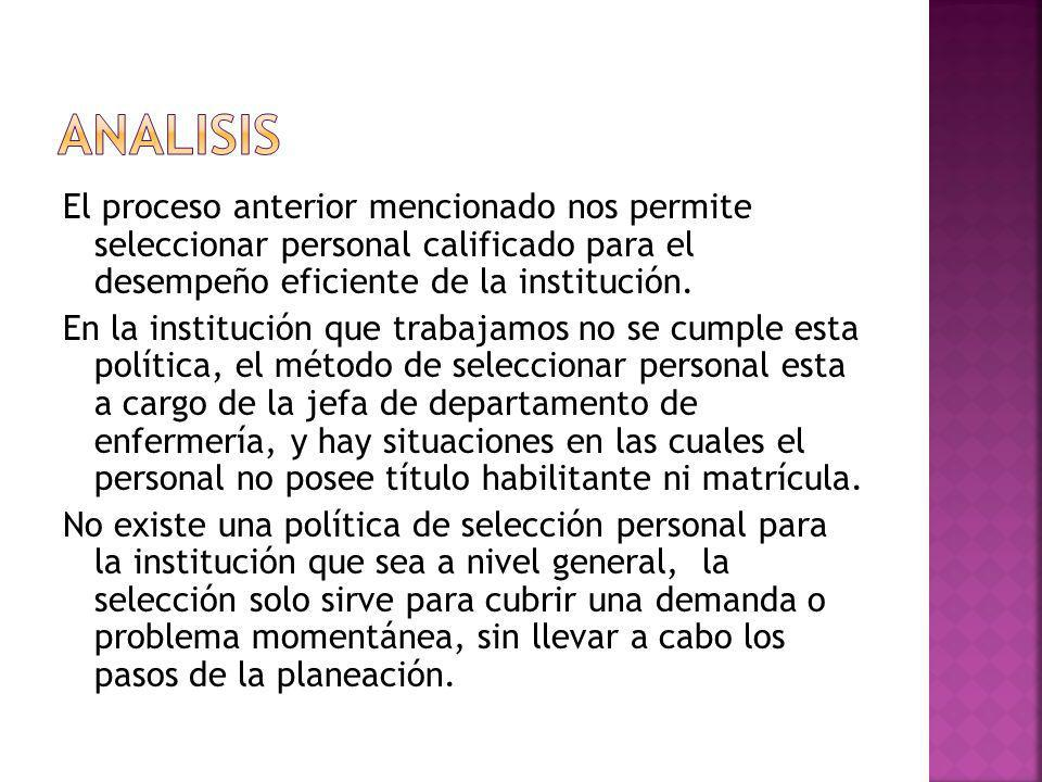 El proceso anterior mencionado nos permite seleccionar personal calificado para el desempeño eficiente de la institución.