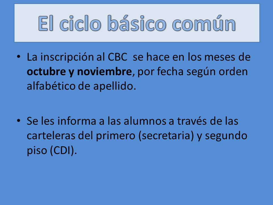 La inscripción al CBC se hace en los meses de octubre y noviembre, por fecha según orden alfabético de apellido. Se les informa a las alumnos a través