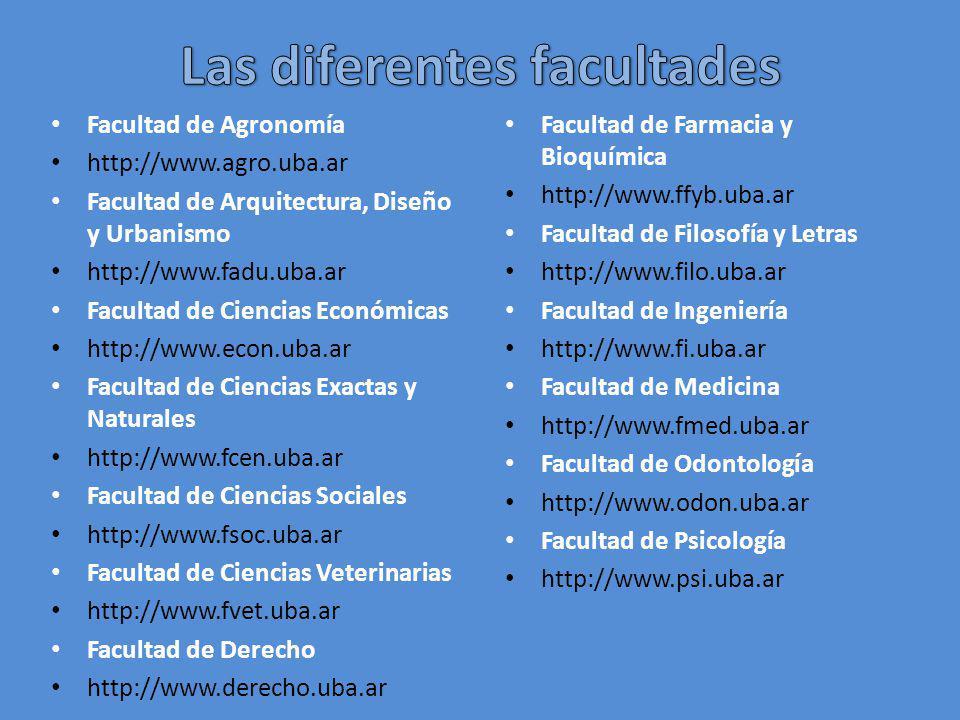 Facultad de Agronomía http://www.agro.uba.ar Facultad de Arquitectura, Diseño y Urbanismo http://www.fadu.uba.ar Facultad de Ciencias Económicas http: