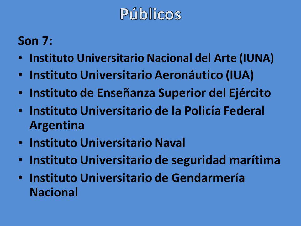Son 7: Instituto Universitario Nacional del Arte (IUNA) Instituto Universitario Aeronáutico (IUA) Instituto de Enseñanza Superior del Ejército Instituto Universitario de la Policía Federal Argentina Instituto Universitario Naval Instituto Universitario de seguridad marítima Instituto Universitario de Gendarmería Nacional