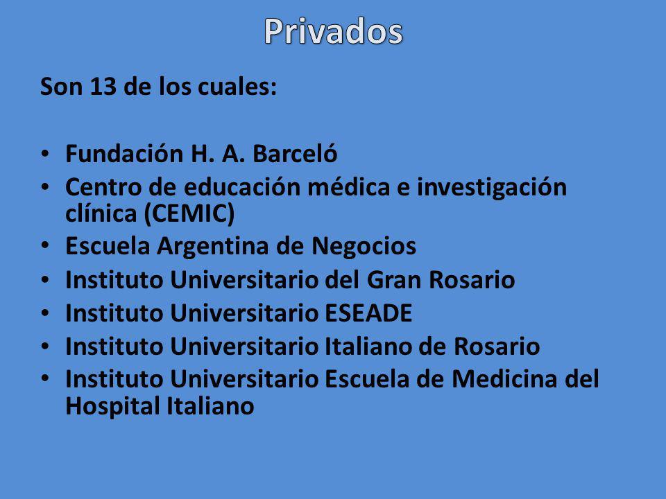 Son 13 de los cuales: Fundación H. A. Barceló Centro de educación médica e investigación clínica (CEMIC) Escuela Argentina de Negocios Instituto Unive