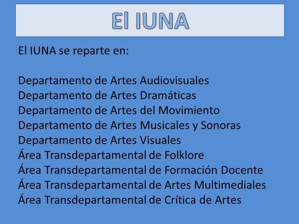 El IUNA se reparte en: Departamento de Artes Audiovisuales Departamento de Artes Dramáticas Departamento de Artes del Movimiento Departamento de Artes