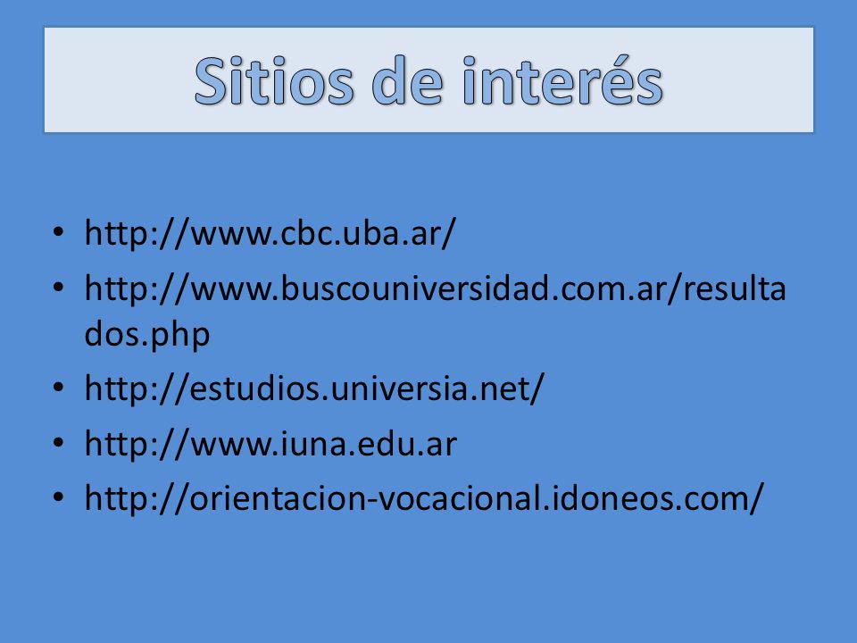 http://www.cbc.uba.ar/ http://www.buscouniversidad.com.ar/resulta dos.php http://estudios.universia.net/ http://www.iuna.edu.ar http://orientacion-voc