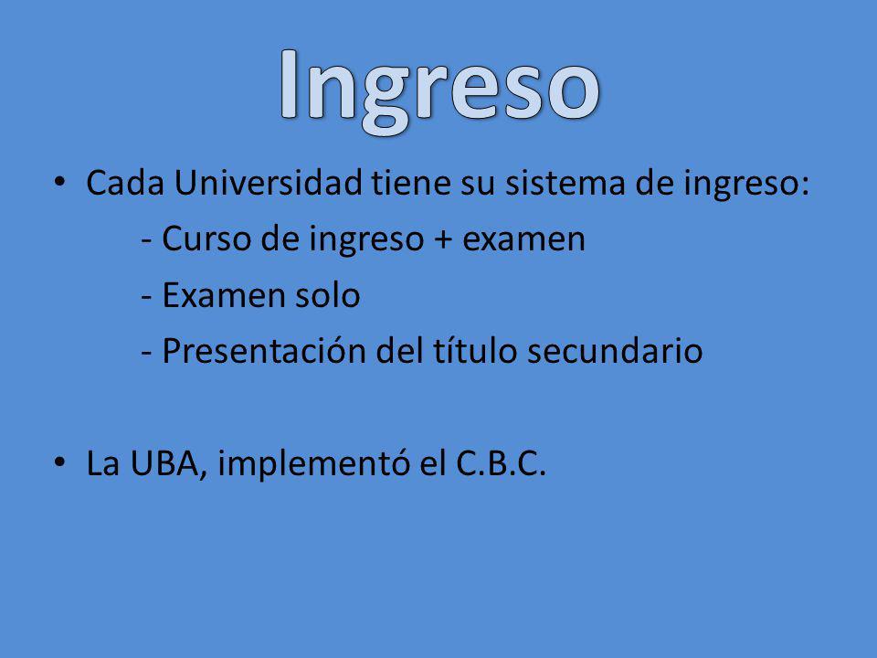 Cada Universidad tiene su sistema de ingreso: - Curso de ingreso + examen - Examen solo - Presentación del título secundario La UBA, implementó el C.B