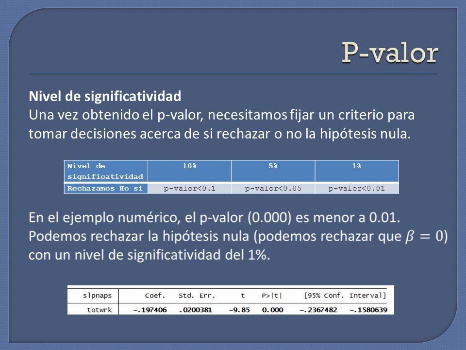 Nivel de significatividad 10%5%1% Rechazamos Ho sip-valor<0.1p-valor<0.05p-valor<0.01 Nivel de significatividad Una vez obtenido el p-valor, necesitam
