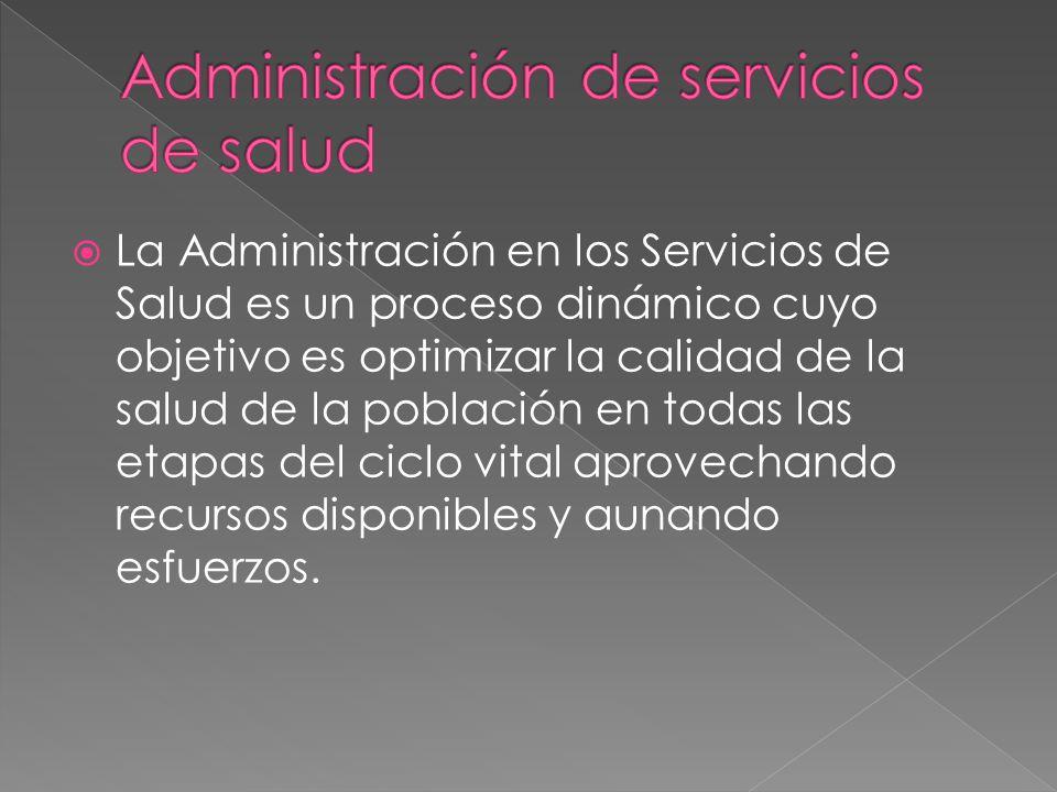 La Administración en los Servicios de Salud es un proceso dinámico cuyo objetivo es optimizar la calidad de la salud de la población en todas las etap