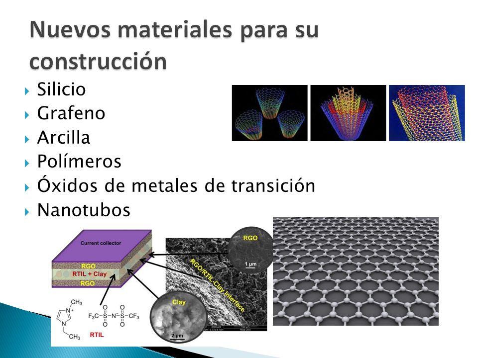 Silicio Grafeno Arcilla Polímeros Óxidos de metales de transición Nanotubos