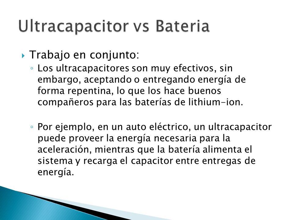 Trabajo en conjunto: Los ultracapacitores son muy efectivos, sin embargo, aceptando o entregando energía de forma repentina, lo que los hace buenos compañeros para las baterías de lithium-ion.
