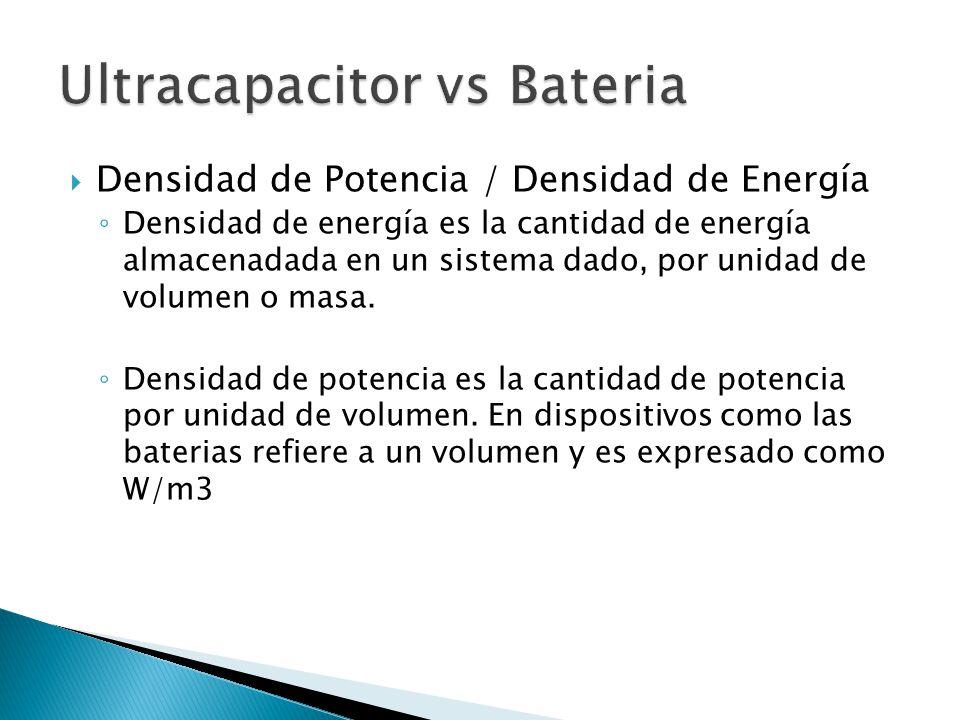 Densidad de Potencia / Densidad de Energía Densidad de energía es la cantidad de energía almacenadada en un sistema dado, por unidad de volumen o masa.
