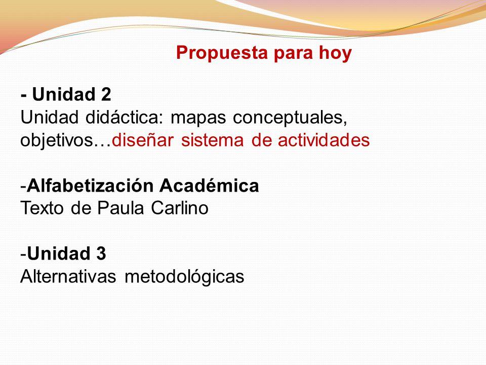 - Unidad 2 Unidad didáctica: mapas conceptuales, objetivos…diseñar sistema de actividades -Alfabetización Académica Texto de Paula Carlino -Unidad 3 A