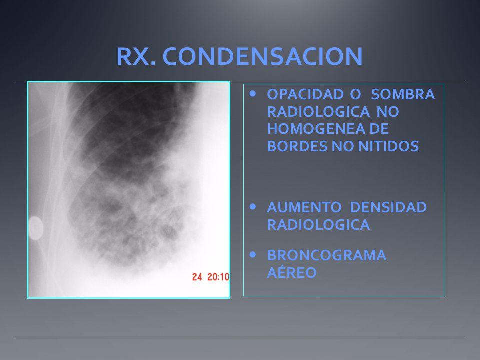 RX. CONDENSACION OPACIDAD O SOMBRA RADIOLOGICA NO HOMOGENEA DE BORDES NO NITIDOS AUMENTO DENSIDAD RADIOLOGICA BRONCOGRAMA AÉREO
