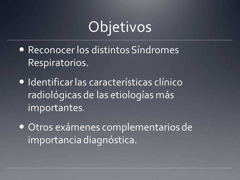 Objetivos Reconocer los distintos Síndromes Respiratorios. Identificar las características clínico radiológicas de las etiologías más importantes. Otr