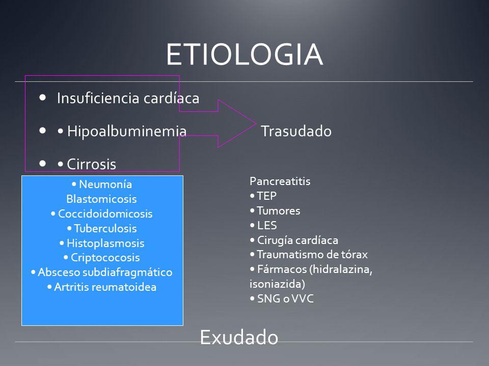 ETIOLOGIA Insuficiencia cardíaca Hipoalbuminemia Trasudado Cirrosis Neumonía Blastomicosis Coccidoidomicosis Tuberculosis Histoplasmosis Criptococosis