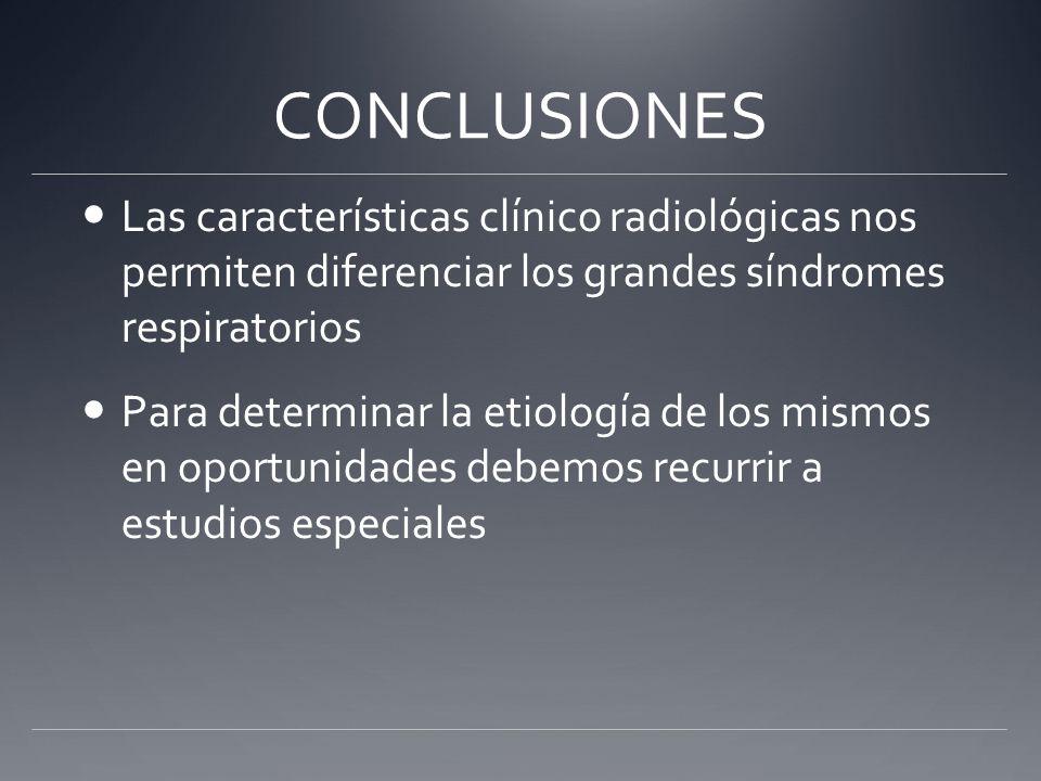 CONCLUSIONES Las características clínico radiológicas nos permiten diferenciar los grandes síndromes respiratorios Para determinar la etiología de los
