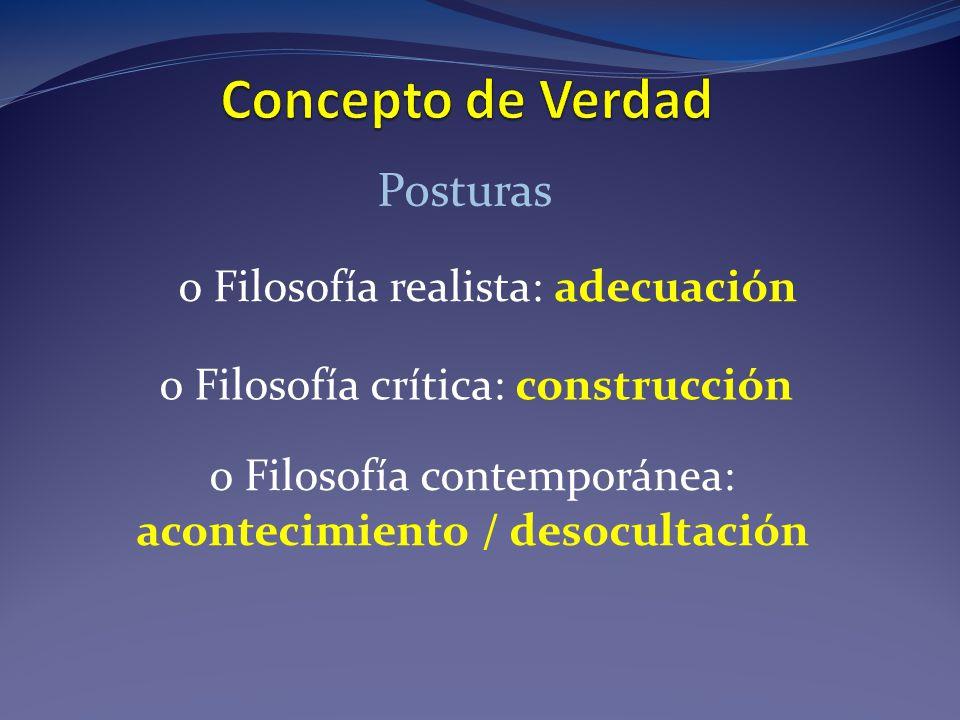 Posturas o Filosofía realista: adecuación o Filosofía crítica: construcción o Filosofía contemporánea: acontecimiento / desocultación