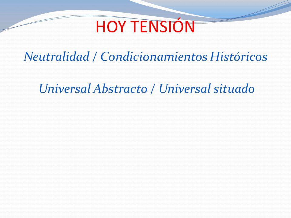 HOY TENSIÓN Neutralidad / Condicionamientos Históricos Universal Abstracto / Universal situado