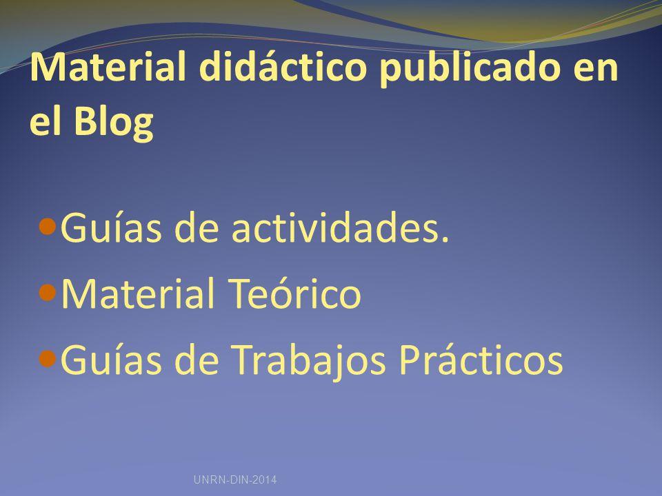 Material didáctico publicado en el Blog Guías de actividades.